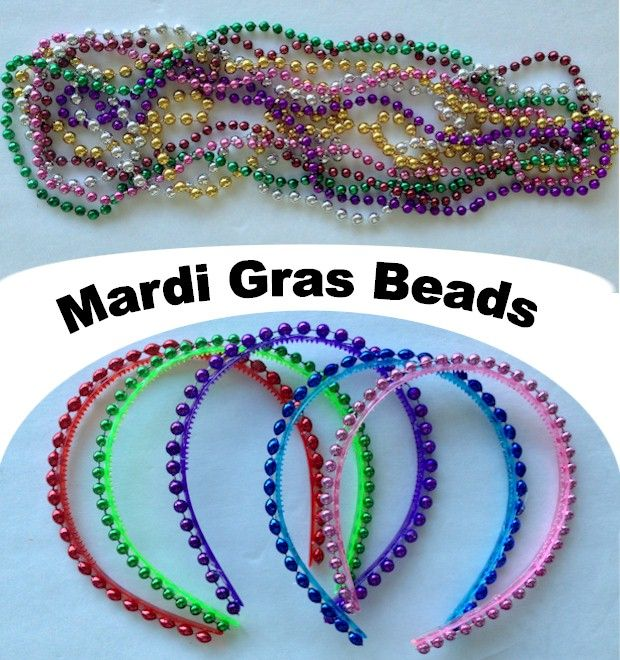 Kids crafts using Mardi Gras Beads.  Easy Mardi Gras headband.