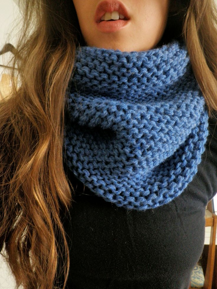 Quick Cowl Knitting Pattern : Knit Cowl PDF PATTERN- Quick Easy Size 13 Needles, 2 strands held tog?