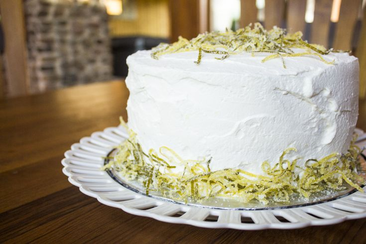 White Cake with Lemon-Lime Curd and Whipped Cream Frosting
