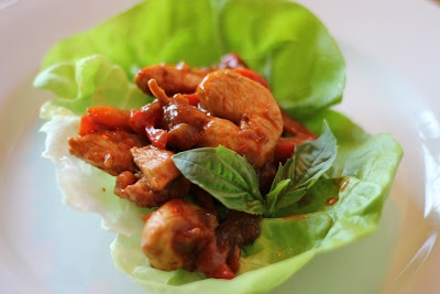stir-fried chicken lettuce wraps made with biscoff spread/speculoos a ...