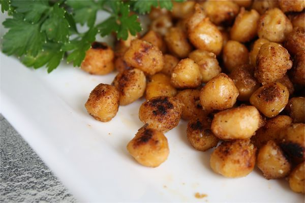 Pan Fried Cajun Chickpeas - great for snack or salad topper.
