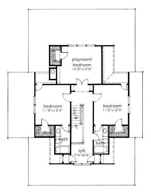 House plan of the month four gables Four gables house plan