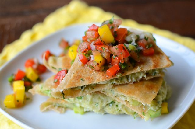 Crab & Avocado Quesadillas w/ Mango Salsa. One of our family fav's. :)