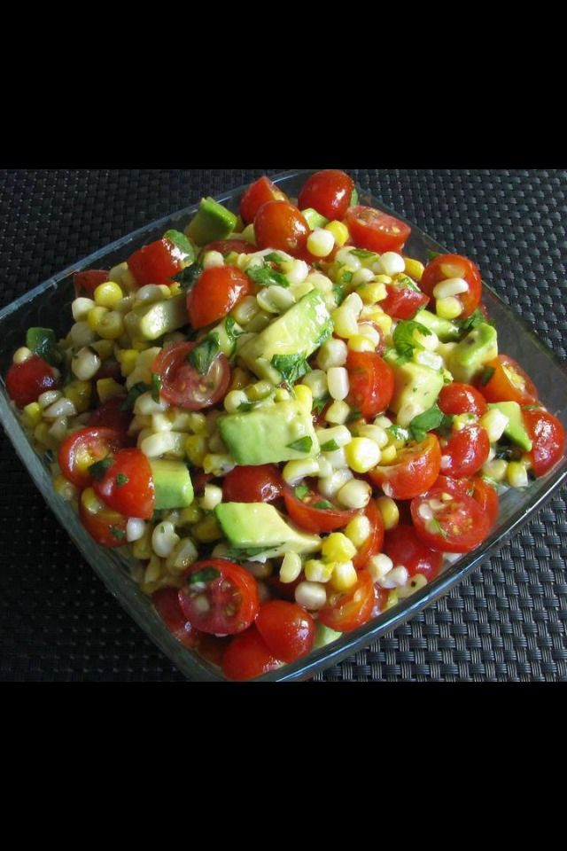 Grilled Corn, Avocado, And Tomato Salad With Honey Lime Dressing