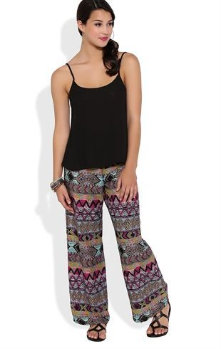 Deb Shops Multicolor Tribal Print #Palazzo Pant with Smocked Waist $16.50