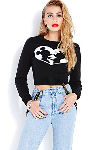 Mickey and Minnie Cropped Sweater | FOREVER21 - 2000065901 $19.80