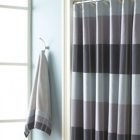 Curtains With Metal Rings Chocolate and Blue Shower C