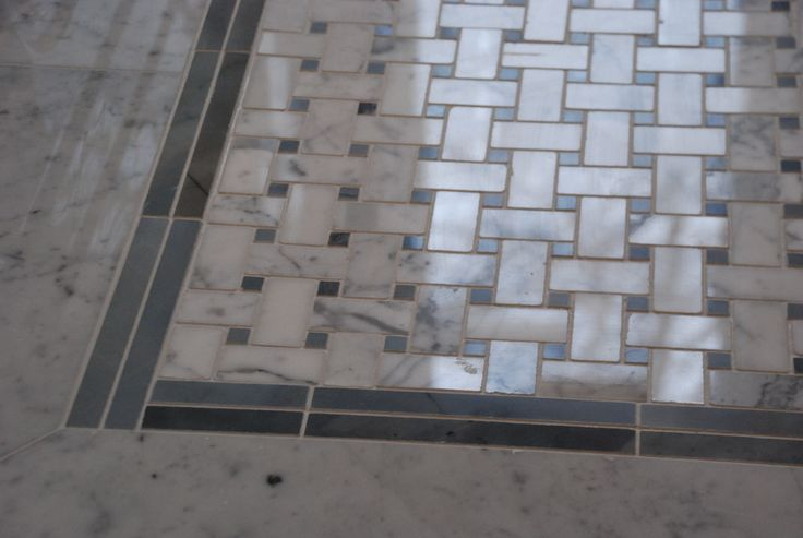 Calcutta Marble Basket Weave Tile Floor With Border For Bathroom