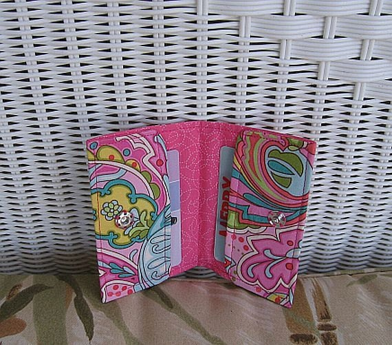 Card Holder Business Gift or Credit Cards  Pink by KthysKreations