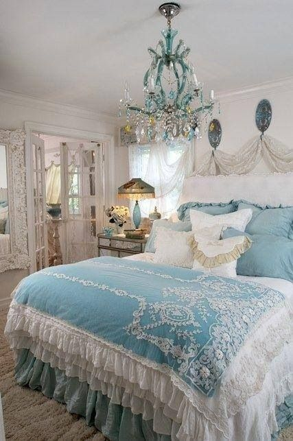blue and white bedroom with chandelier bedrooms pinterest