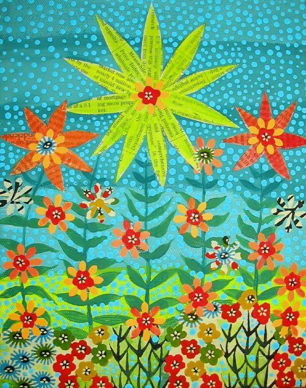 Folk Art style flower painting