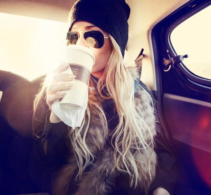 hair. beanie. sunnies. vest. coffee. perfection.