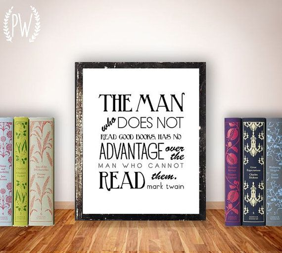 Quote Print Printable Art Books Wall Decor Library