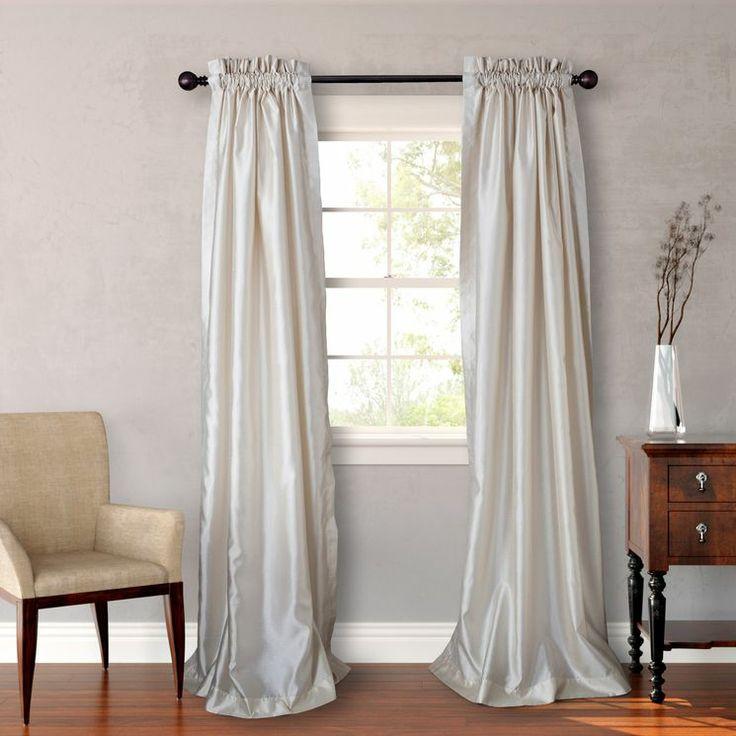 Faux Silk Curtain Panel Pair