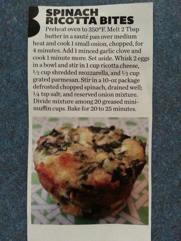 Spinach ricotta bites | Dinner ideas | Pinterest
