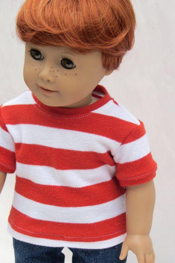 American Girl Boy Doll Clothes Striped Tee By Minipparel On Etsy Ag Boy Dolls Pinterest