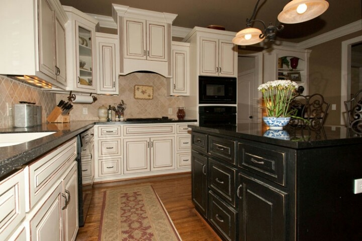 Two Colored Cabinets Kitchens Pinterest