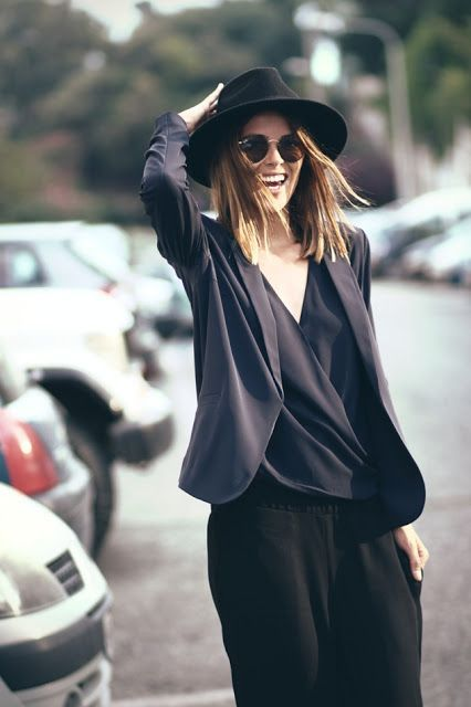 Vintage. Black on Black. Hat. Layers. Proper. Sunglasses. Hip. Slacker. Urban. Fashion. Woman. Street. Style. Summer.