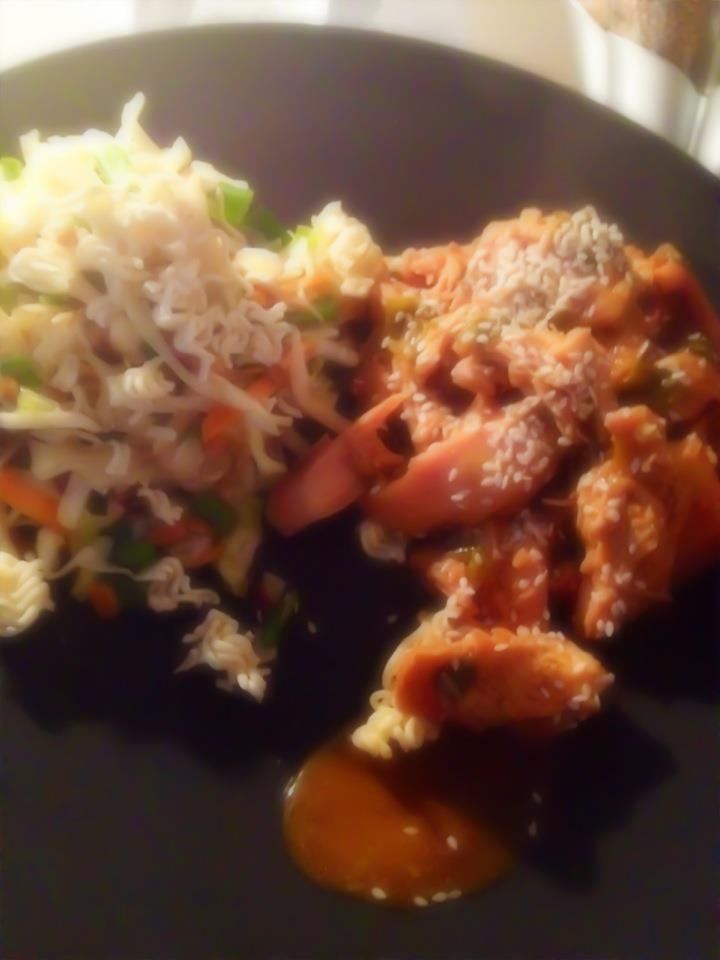 Sesame Chicken With Cabbage And Red Grapefruit Sauce ...