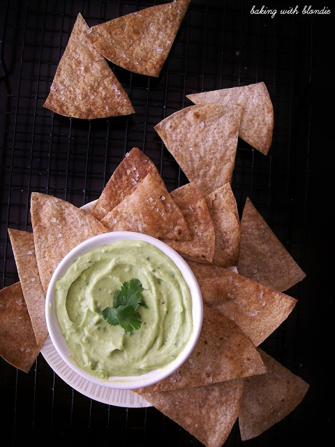 Creamy Avocado Yogurt Dip & Baked Whole Wheat Tortilla Chips with Sea ...