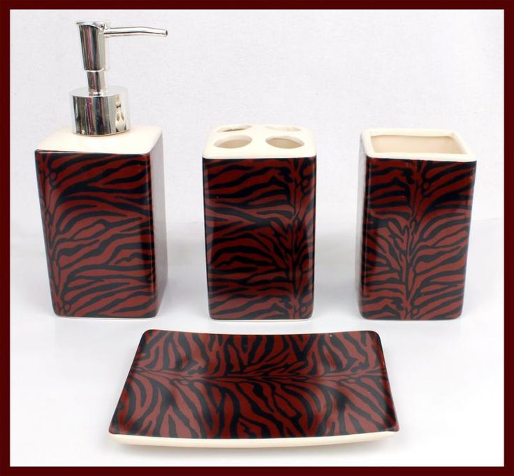 4 pc black burgundy zebra ceramic bathroom set soap for Red and black bathroom accessories sets