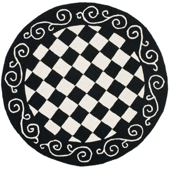 Hand hooked diamond black ivory wool rug 4 39 round for Black and white wool rug