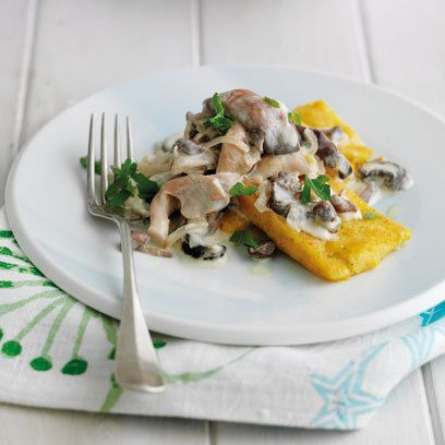 Polenta with forest mushrooms. Recipe, Desert Island Dishes for Maldon ...