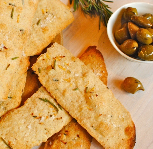 Crispy Olive Oil and Lemon-Rosemary Flatbreads