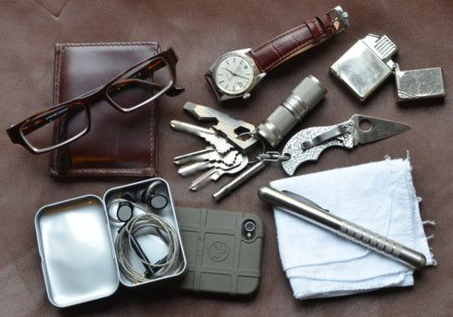 Colonna Slimmy Wallet; Prodesign Prescription Glasses; Rolex Datejust; Classic Zippo with Z-Plus Insert; Keys with Spyderco Spin as fob, Atwood Poltergeist, VersaTi whistle, and 4Sevens Quark123Ti; iPhone 4; Magpul case; B C5 earset, in a tin I got at Maido; Countycomm Embassy Pen in stainless; Plain cotton handkerchief