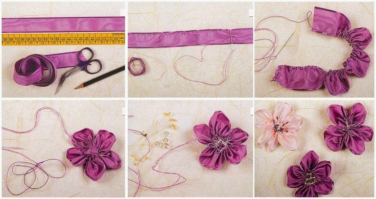 Цветы из атлас своими руками 89