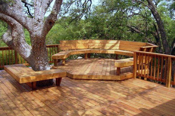 Redwood deck split level idea patio pinterest for Split level garden decking