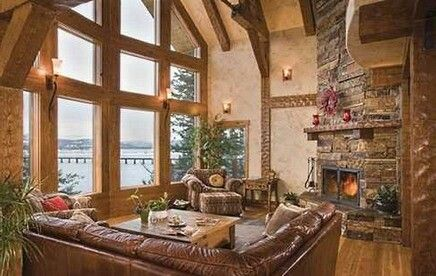 Rustic Country Living Room High Ceilings Corner Brick Fireplace