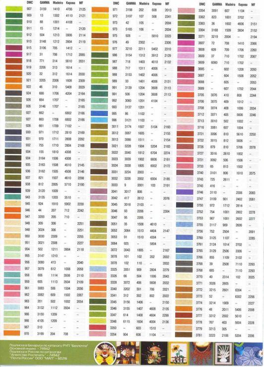 Вышивка таблица соответствия цветов гамма и дмс 38