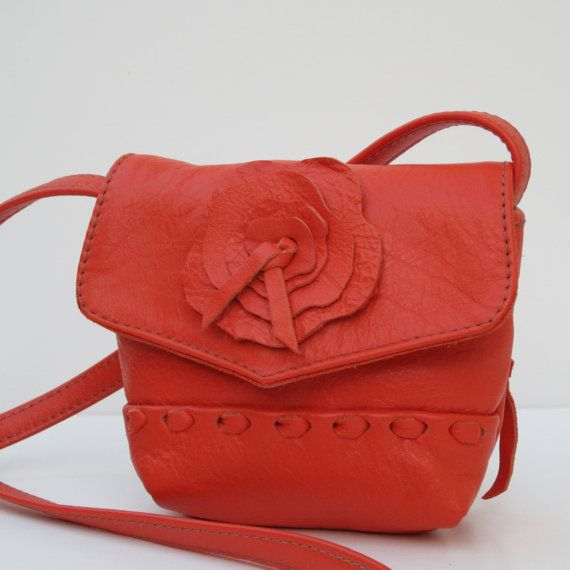 SMALL SHOULDER BAG Leather Pouch Tangerine Sorbet by elizabethzmow