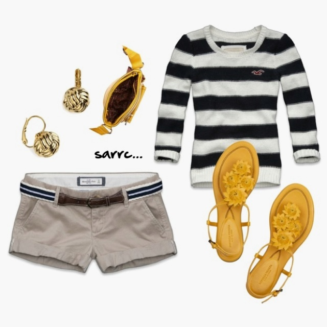 Navy stripes with a touch of yellow.