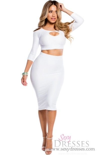 white bodycon reversible keyhole crop top and midi
