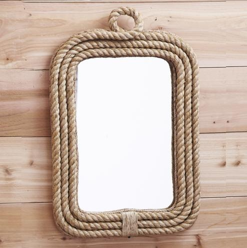 coastal decor rope edge wall mirror bathroom nautical new