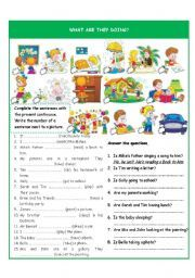 english worksheet: what are they doing? present