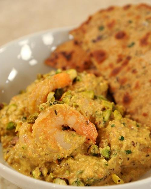 Red Pepper And Pistachio Curried Shrimp Recipe — Dishmaps