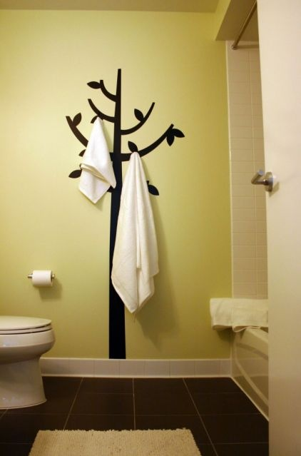 add hooks to wall decal - clever!