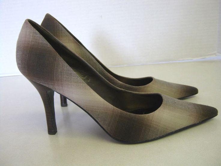 Womens Shoes 8 1/2 M Nine West Brown Plaid Heels Pumps #NineWest