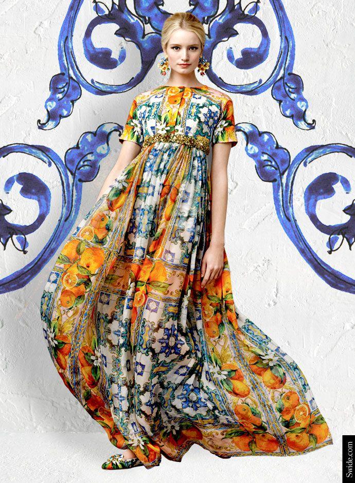Dolce&Gabbana Fall Winter 2014-15 Majolica Print Dresses