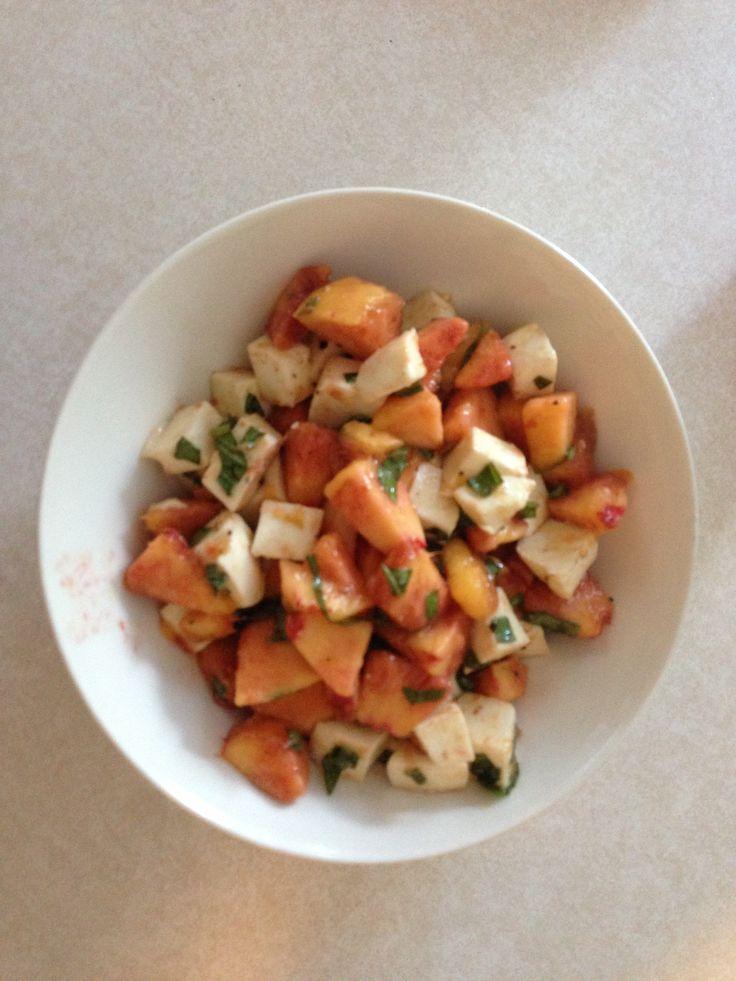 """peach""""se Salad- fresh peaches, fresh mozzarella, fresh chopped bas..."""