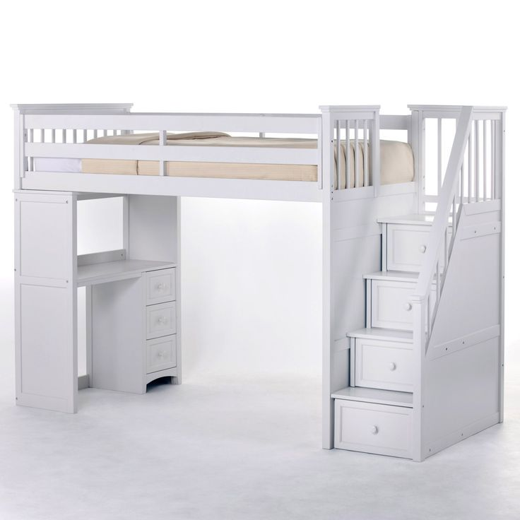 White Loft Bed with Stairs 736 x 736