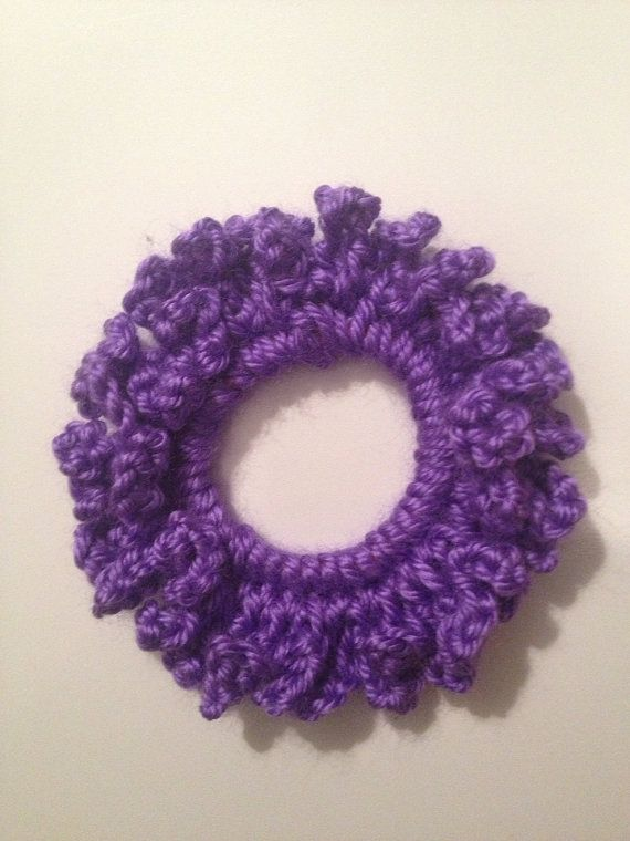 Purple crochet hair scrunchy, ponytail holder on Etsy, $3.00