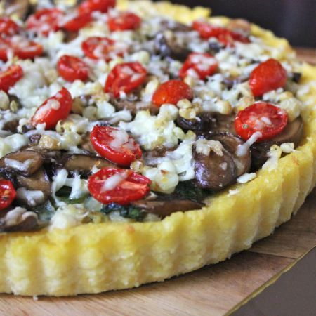 Polenta Tart with Asiago Spinach, Grilled Corn, Balsamic Mushrooms and ...