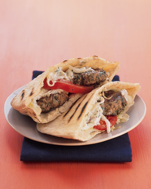 Mini Greek Lamb Burgers. Great in a pita (as shown) or as a burger in ...
