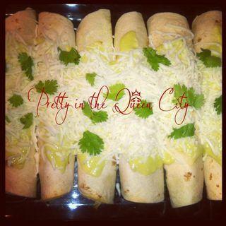 Cilantro Lime Chicken Enchiladas with Avocado Cream Sauce. This is a ...