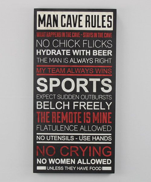 Man Cave Plaques Signs : Man cave rules wall plaque