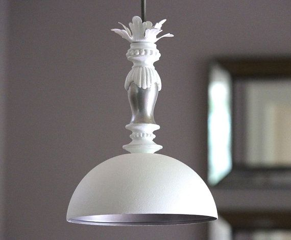 dome hanging pendant light fixture lampshade shabby chic cotta. Black Bedroom Furniture Sets. Home Design Ideas